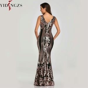 Image 3 - YIDINGZS חדש ואגלי V צוואר פאייטים המפלגה לבוש הרשמי שרוולים סקסי ארוך ערב שמלות שחור זהב YD086
