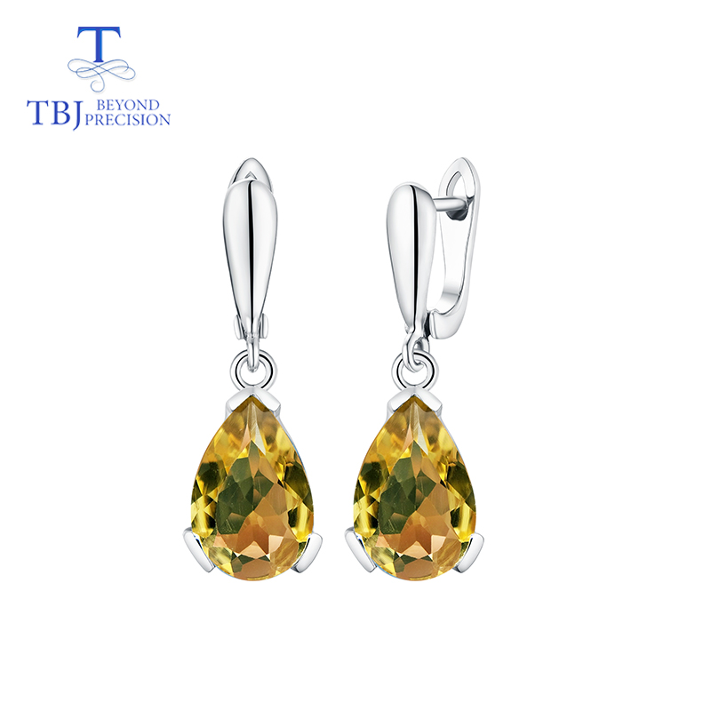 TBJ,Natural citrine gemstone Water Drop 13ct Genuine good clasp Earrings Pure 925 Sterling Silver Fine Jewelry For Women giftTBJ,Natural citrine gemstone Water Drop 13ct Genuine good clasp Earrings Pure 925 Sterling Silver Fine Jewelry For Women gift