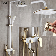 BAOLINLONG Brass + ABS bath shower head faucets Bathroom shower mixer bathtub faucet rainfall shower wall torneira shower golden rainfall shower faucets set brass wall mounted shower with hand shower mixer for bathroom