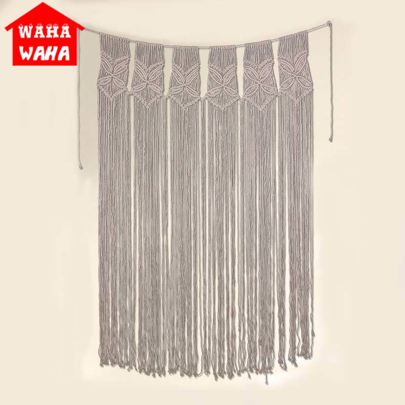 120x180CM Nordic Style Handmade Knitting Cotton Rope Banner Tapissery Wall Hanging Home Large CurtainTapestry Door Curtain Decor