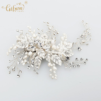 Handmade Wedding Accessory Glinting Leaves Imported Rhinestones Freshwater Pearls Bridal Hair Clip Headpiece Prom Halo