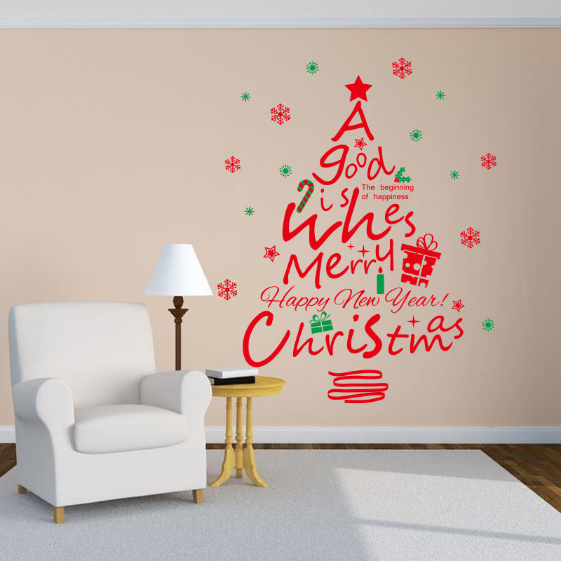 Red Christmas Tree Vinyl Wall Stickers Mural Removable Wall Decal Shop Window Decor DIY Self-adhesive Wallpaper Mural SA930