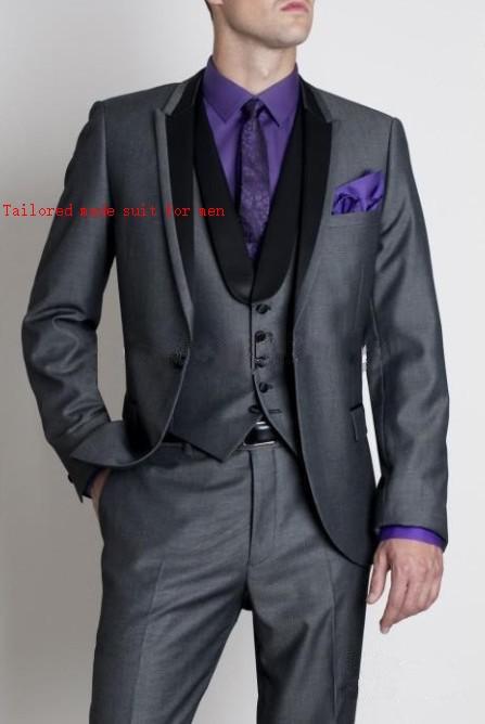 Customized made one button High Quality groom DARK GREY Peak lapel wedding dinner party men Suit( jacket+Pants+vest+tie)