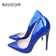 цены Blue Sexy Women High Heels Shoes Stiletto 12 cm Pumps Blue Pointed Toe Woman Shoes Party Plus Size 34-45 QP044 ROVICIYA