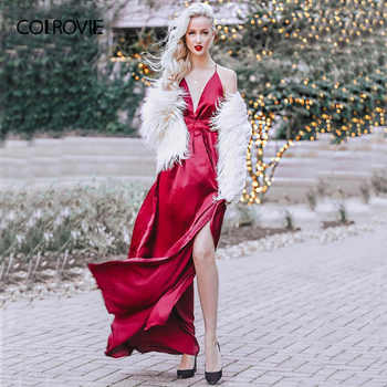 COLROVIE High Slit Wrap Satin Maxi Dress Plunge Neck Cross Back Women Sexy Draped Long Dresses Sleeveless A Line Slip Dress - DISCOUNT ITEM  45% OFF All Category