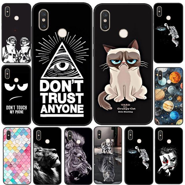 For Coque Xiaomi Mi A2 Lite Case Cover Black Silicone Planet Cat Tiger Phone Case For Xiaomi Mi A2 Lite TPU Fundas MiA2 Lite