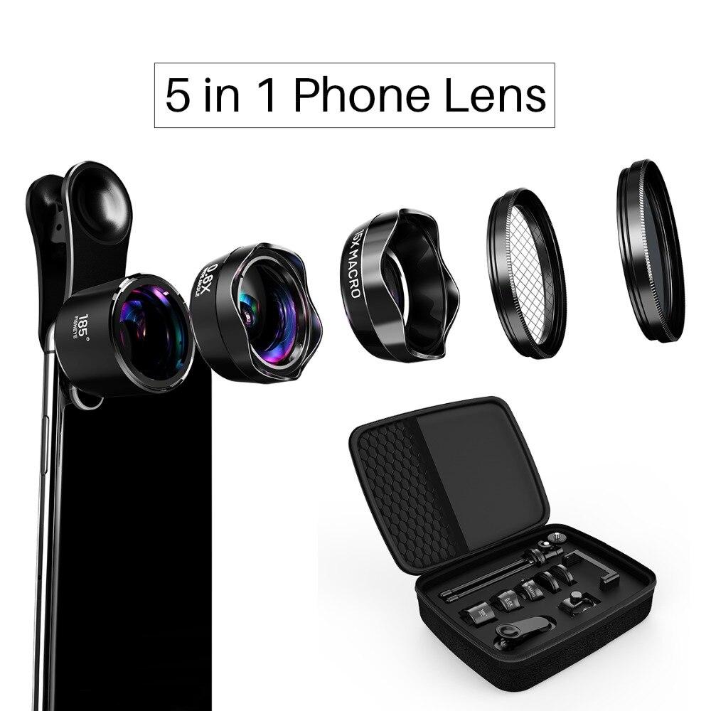 LQ-185 PRO Serie 5 in 1 Kit Obiettivo Del Telefono Mobile Delle Cellule 0.6x Grandangolare + 15x Macro + Lente Fisheye per iPhone X/8/7/7 Xiaomi OPPO