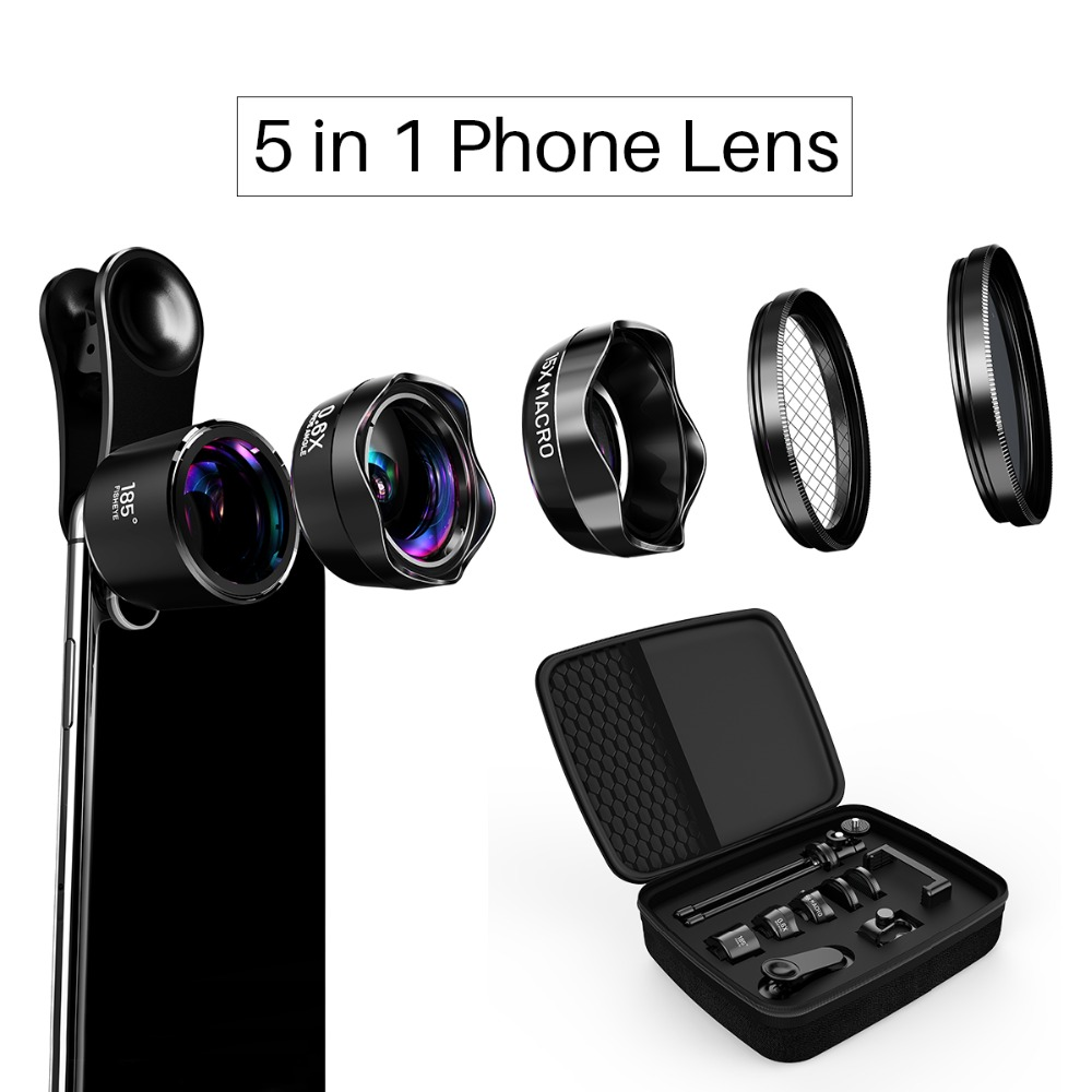 LQ-185 PRO Series 5 in 1 Kit Mobile Cell Phone Lens 0.6x Wide Angle+15x Macro+Fisheye Lens for iPhone X/8/7/7 Xiaomi OPPO slr phone bluetooth control photographic equipment camera cinema moun with wide angle lens and macro lens suits for mobile phone