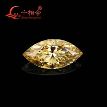 yellow color  marquise shape dia mond cut Sic material Moissanite loose stone(video is dark yellow)