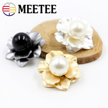 4pcs Mink Fur Coat Buttons Clothes Accessories Flowers Pearl Metal Button Mushroom Bouton Trench Clasp E4-38