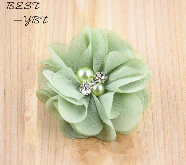 (120pcs/lot)2 20 Colors DIY Mini Chiffon Flowers Whit Pearl Rhinestone For Girls Accessories New Hot Baby Hair Flowers