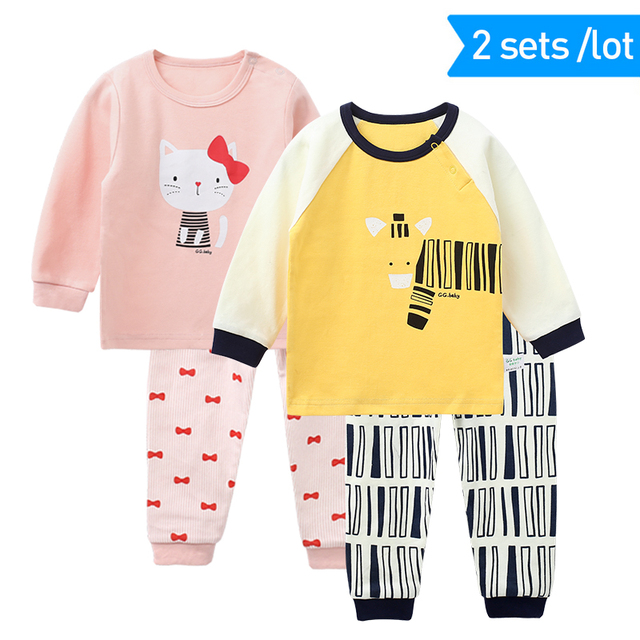 2 Sets /lot Spring Fall Kids Boys Clothes Set Long Sleeved Kid Sets Outfits Toddler Boys Clothes Children Girls Sets Clothing