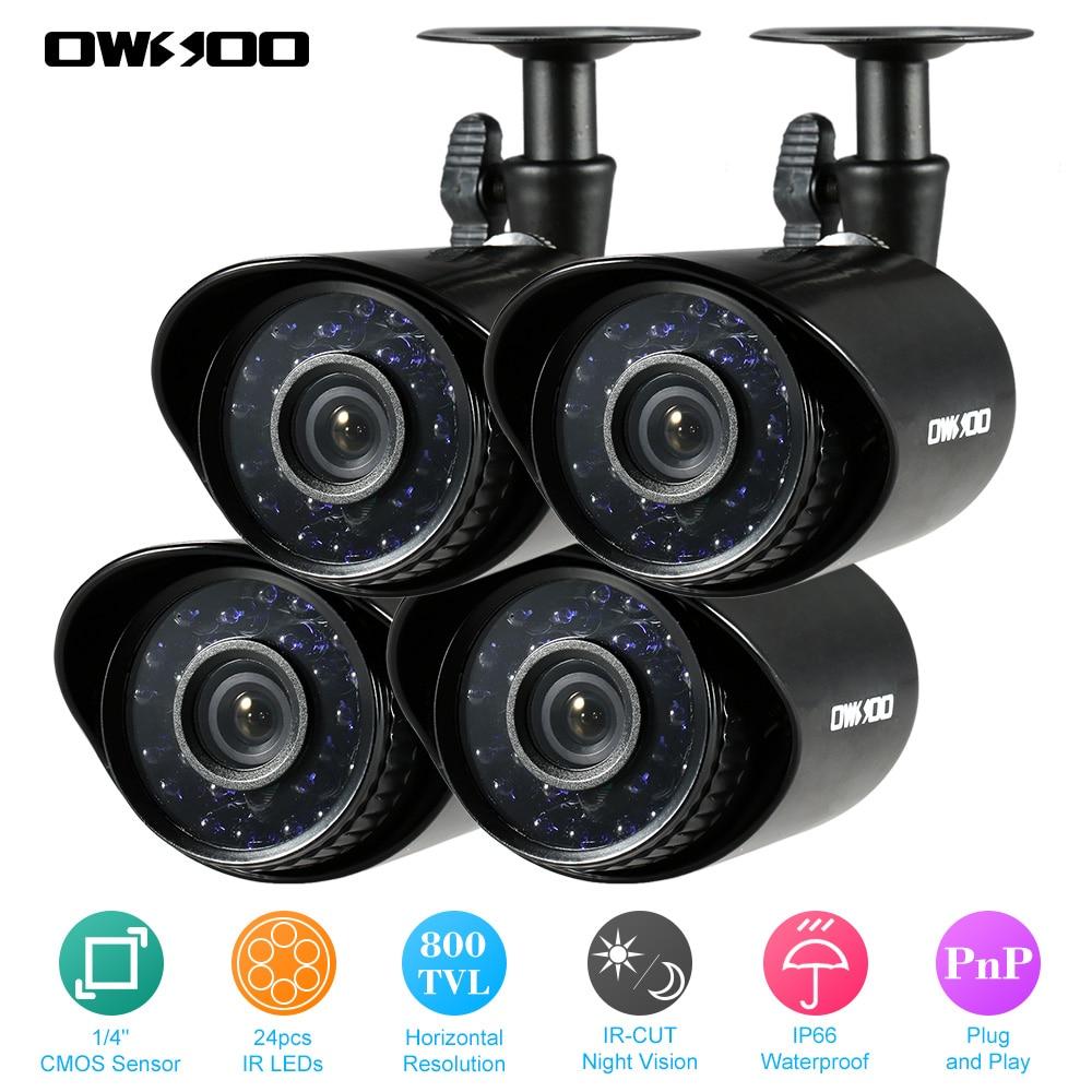 OWSOO 4PSC 800TVL CCTV Security Camera Kit Waterproof Outdoor Camera IR CUT Night Vision PnP 24