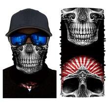 Multi Usar Máscara Facial Fresco Motocross Da Motocicleta do Motociclista do Crânio Headwear Magia Lenço Ao Ar Livre Bandanas Caça 3D Sem Costura Tubo Pescoço