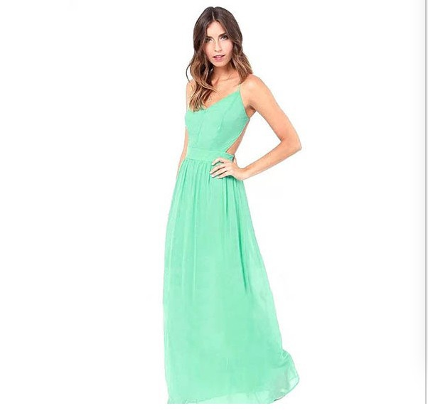 Spaghetti Strap Backless Pleated Maxi Long Party Beach Dress 5