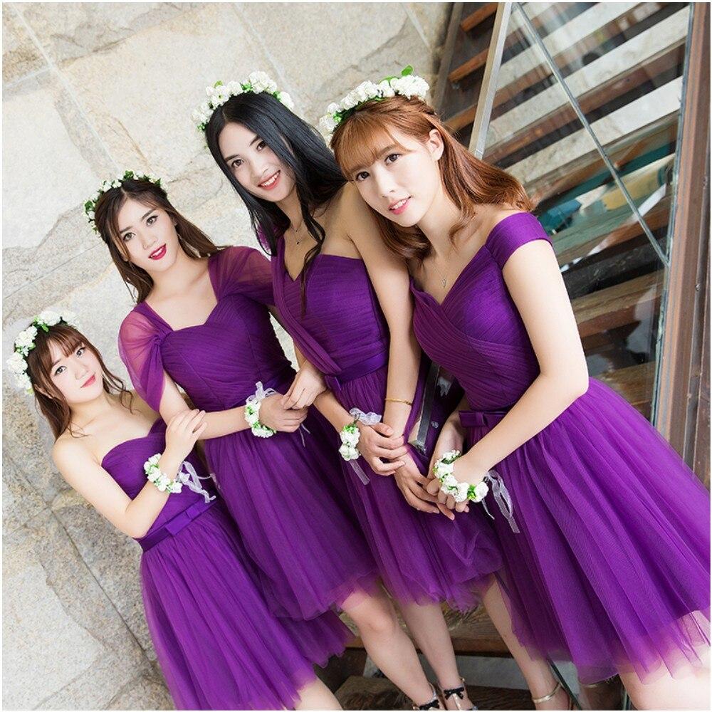 73778709a175 Bridesmaid dress short paragraph wedding group dark purple short paragraph  was thin sisters skirt banquet dress-in Bridesmaid Dresses from Weddings &  Events ...