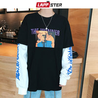LAPPSTER Men Streetwear Funny T Shirts Fashion Summer 2019 Mens Patchwork Letter Print Long Sleeve T Shirt Male Harajuku Tshirts