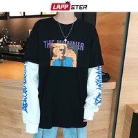 LAPPSTER Men Streetwear Funny T Shirts Fashion Summer 2019 Mens Patchwork Letter Print Long Sleeve T Shirt Male Harajuku Tshirts