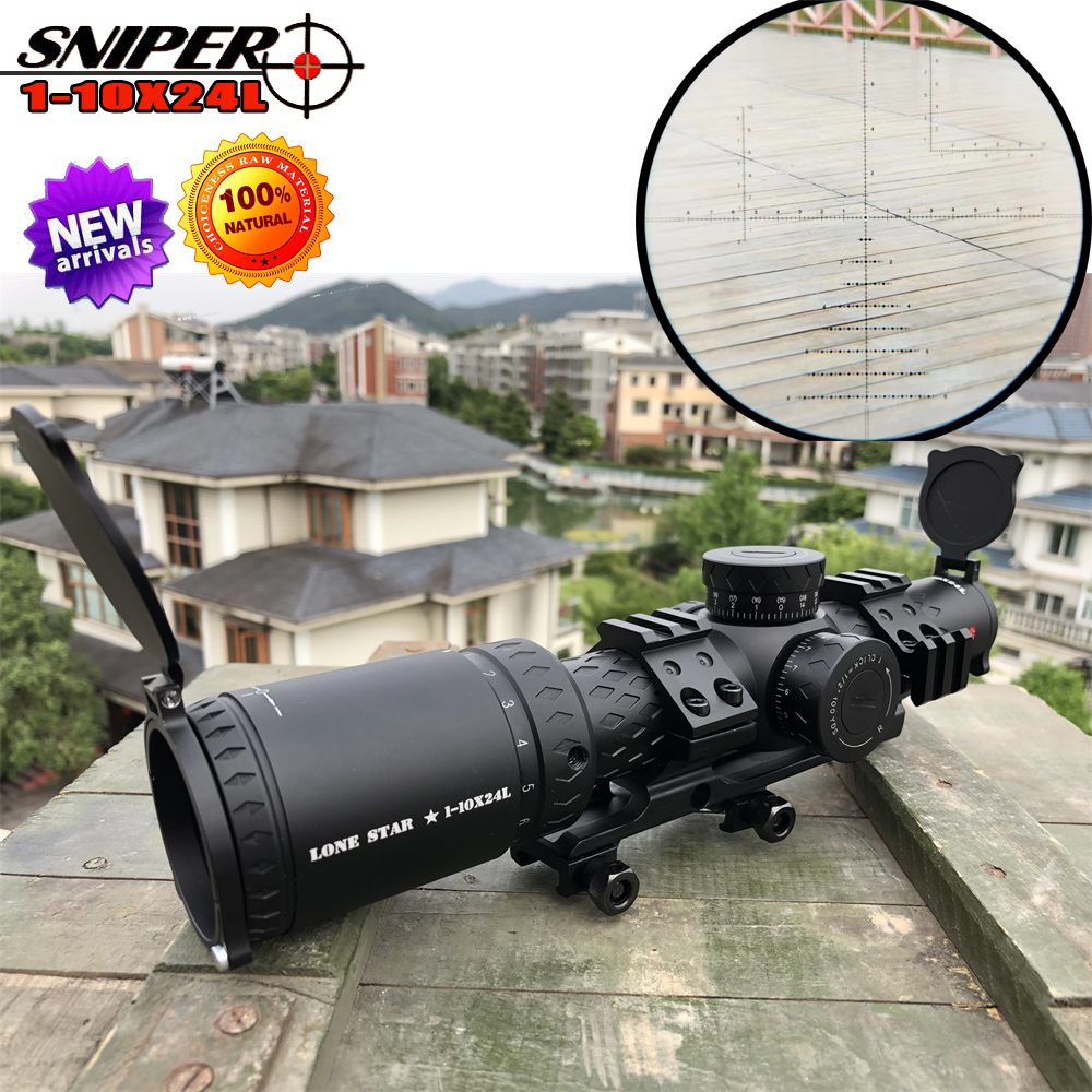 SNIPER 1-10x24 L Riflescope Tactical Rifle Scope Glass Etched Reticle Hunting Optics Sight  Red Dot 20mm Mounts  Hunting Scope