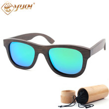 Hot sale black bamboo frame polarized REVO mirror sunglasses handmade sun glasses driving glasses custom logo available B012