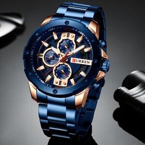 Image 3 - Curren Heren Horloges Top Brand Luxe waterdichte Mode Quartz Man Horloges Rvs Chronograaf Horloges Man 2019