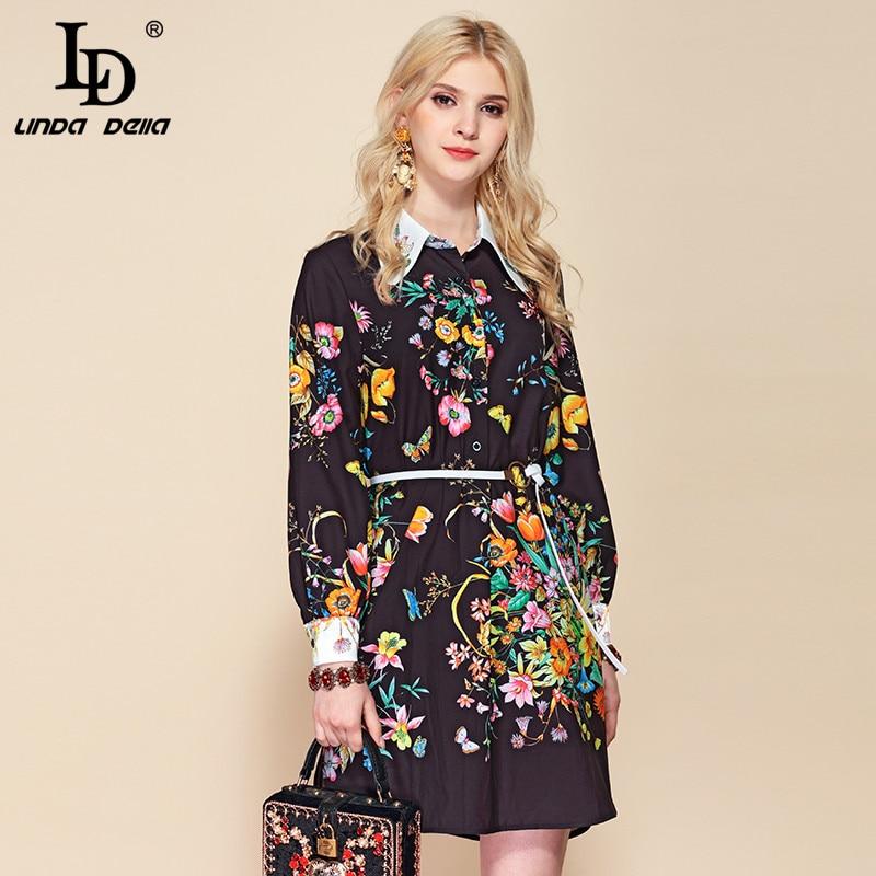 LD LINDA DELLA Autumn Fashion Runway Belted Loose Dress Women s Long Sleeve Elegant Black Floral