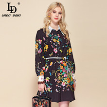 LD LINDA DELLA Autumn Fashion Runway Belted Loose Dress Wome