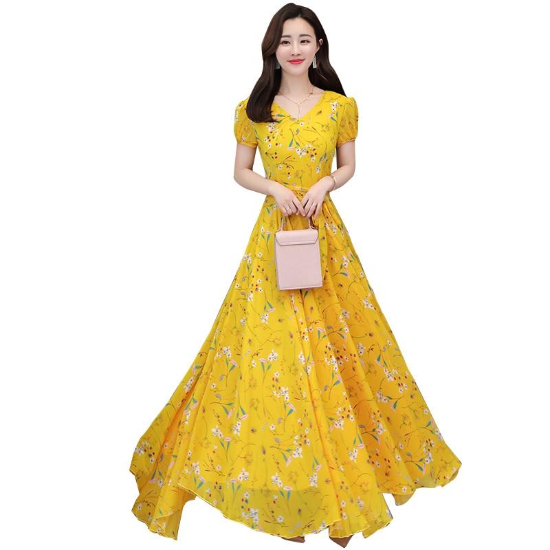 b266fdc50440 Amarelo, Rosa, flor azul Vestido de Verão Grande Tamanho Mulheres Vestidos  de Manga Curta Da Cópia Floral Longo de Chiffon Grande Balanço Vestidos  S-4XL