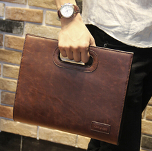 New famous designer brand bags men leather handbags brown briefcase fashion envelope shoulder messenger bag portfolios HB00061