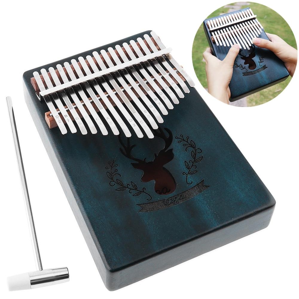 17 Key Thumb Piano Kalimba Elk Sound Hole Mahogany Green Single Board  Mbira Mini Keyboard Instrument Christmas Gift