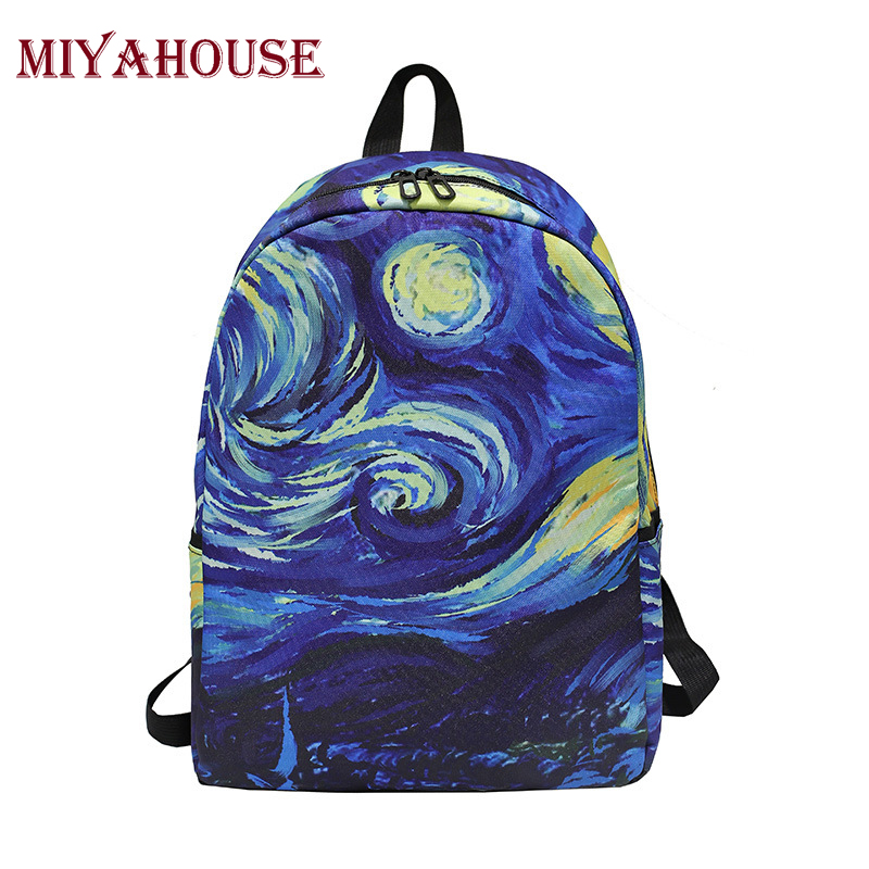 Miyahouse Oil Painting School Backpack For Teenagers Girls Art Design Canvas School Bag large Capacity Female Travel Bag miyahouse preppy style canvas school backpack for teenager girls cute unicorn printed school bag female travel bag