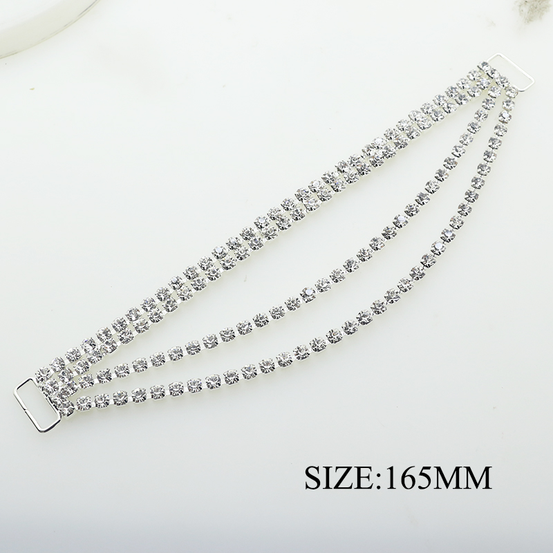 YWXINXI Direct Sales 2 pcs / batch 165MM Four Tows Crystal Rhinestone Sexy Swimsuit Chain Bikini Linker Decoration Accessories(China)