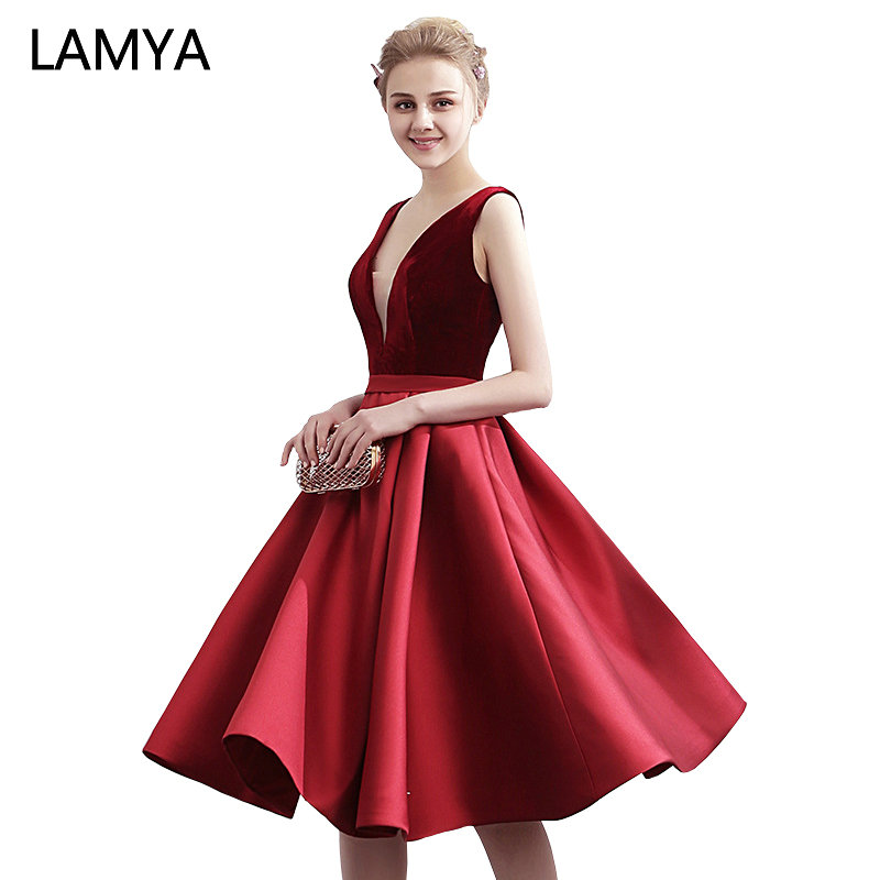 LAMYA Backless Knee Length   Prom     Dresses   Banquet Satin A-Line Evening Party Gowns Women Sexy V Neck vestido de festa longo
