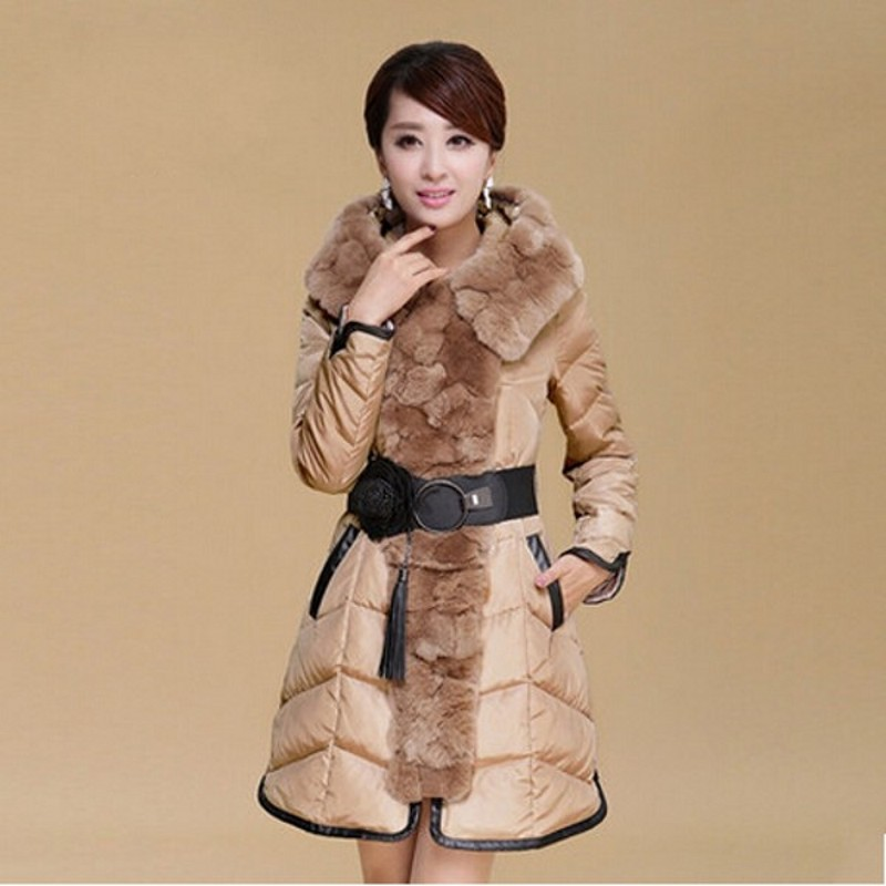 2014 Down coat with fur collar female winter Rabbit large fur Coat slim winter jacket women