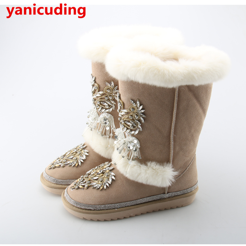 f8471db24a0 US $149.32 |Boot Woman Bing Crystal Embellish Flower Snow Boots Black Color  Fur Shoes Winter Warm Short Booties Round Toe Bottes Chaussures-in Snow ...