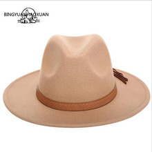 где купить 2018 Retro Women Fedora Felt Hat For Women Ladies Fedoras Autumn Winter Jazz Hat Imitation Woolen Flat Brim Bowler Church Hat по лучшей цене