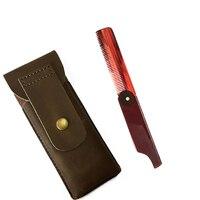 M 18 Plastic Comb Acetate Fashion Folding Pocket Moustache Comb Beard Comb With Leather Bag