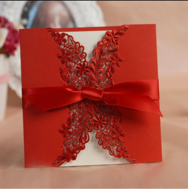 50pcs/lot  Laser-Cut Lace Bowknot Red Wedding Invitations Card Embossment Customized & Printing  Invites Cards