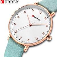 CURREN New Fahion women watch Brand Ultra Thin Quartz Watch Women Genuine Leather Women Watches Luxury Ladies Dress Watch Montre
