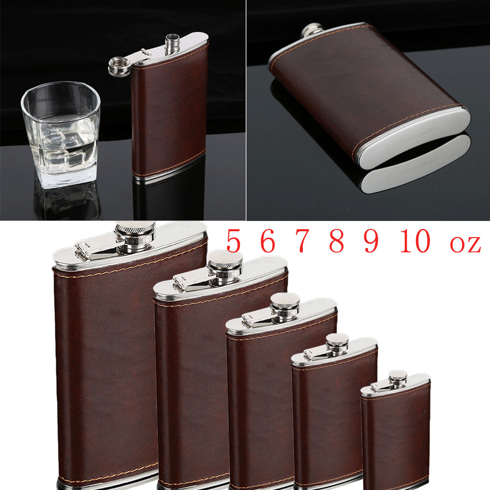 5-10oz Stainless Steel Hip Liquor Whiskey Alcohol Flask Cap Pocket Wine Bottle