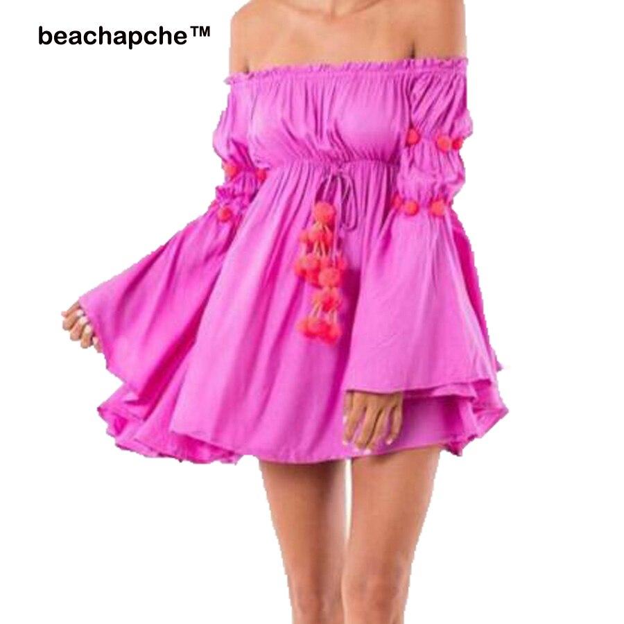 2018 letní šaty ženy off ramena dlouhý plamen rukáv solidní mini party šaty volánky sexy plážové šaty tunika župan Femme