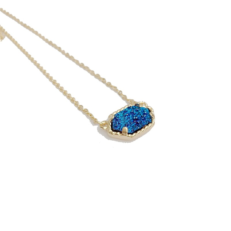 10 Colors Drusy Hexagon Pendant Necklace druzy oval necklace