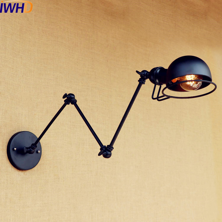 IWHD Black Antique Loft Industrial Vintage Wall Light LED Edison Style Swing Long Arm Wall Lamp Sconce Luminaire Lampara Pared недорого