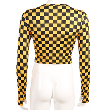 Rapcopter Women Plaid Casual T-shirt Streetwear Long Sleeve T-shirt Cropped Yellow Checkboard O-neck T-shirt Sexy Bodycon Female