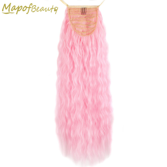 24 Long Curly Ponytail For Women Blonde Pink Clip In Hair Pony Tail