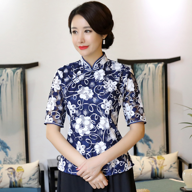 Plus Size Women's Shirt Tops Vintage Chinese style Lady Lace Blouse Handmade Button Qipao <font><b>Mujer</b></font> <font><b>Camisa</b></font> S M L XL XXL XXXL <font><b>4XL</b></font> image