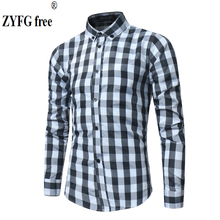 New men's shirt black and white plaid long-sleeved shirt casual spring summer autumn turn-down collar shirts simple style blouse new arrival simple style children s long sleeved shirt spring fall girl collar striped shirt girl blouse 5 10y