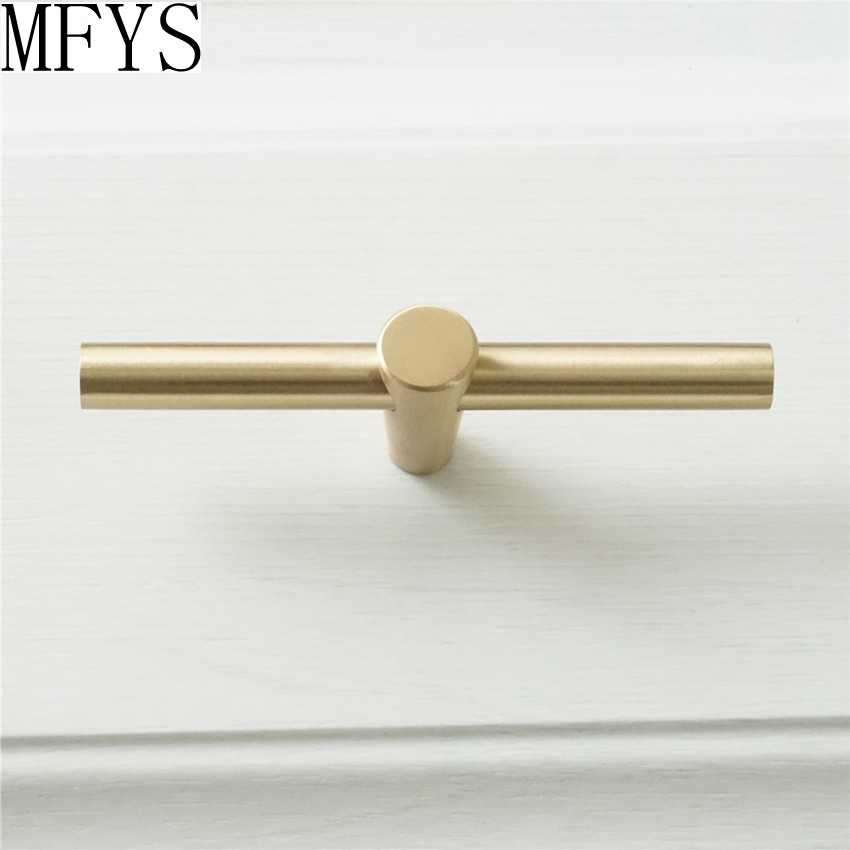 1pc T Bar S Pulls Pure Copper Kitchen Cabinet Door Handles Brushed Gold Br Drawer