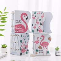 Desktop Adjustable Metal Flamingo Bookends Non skid Expanding File Folder Holder Retractable Book Rack Stand for Notebook