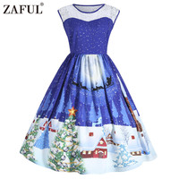 ZAFUL Christmas Lace Insert Sleeveless Party Dress Women 2017 Cute 1950s Autumn Vintage Robes Femme Plus